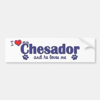 Amo mi Chesador (el perro masculino) Pegatina Para Auto
