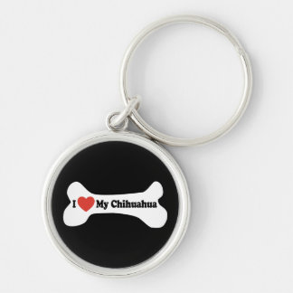 Amo mi chihuahua - hueso de perro llavero redondo plateado