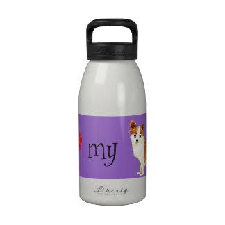 Amo mi chihuahua larga de la capa botellas de agua reutilizables