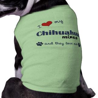 Amo mi chihuahua me mezclo los perros múltiples camisas de mascota