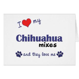 Amo mi chihuahua me mezclo los perros múltiples tarjetón
