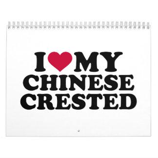Amo mi chino Crested Calendarios De Pared