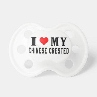 Amo mi chino Crested Chupetes De Bebe