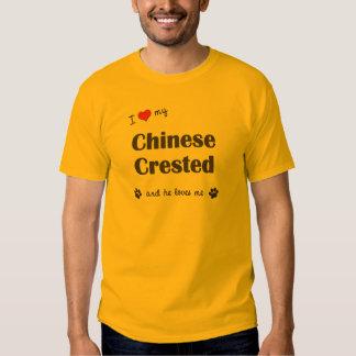 Amo mi chino Crested (el perro masculino) Playeras