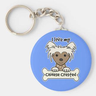 Amo mi chino Crested Llaveros Personalizados