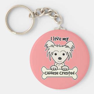 Amo mi chino Crested Llavero Redondo Tipo Pin