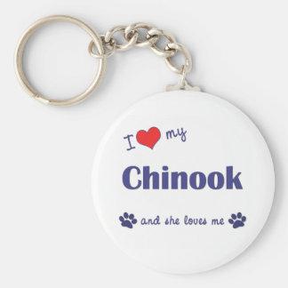 Amo mi Chinook (el perro femenino) Llavero Personalizado