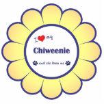 Amo mi Chiweenie (el perro femenino) Escultura Fotográfica