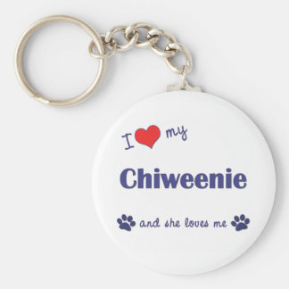 Amo mi Chiweenie (el perro femenino) Llavero Redondo Tipo Pin