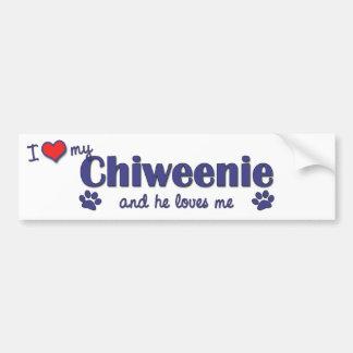 Amo mi Chiweenie (el perro masculino) Pegatina De Parachoque