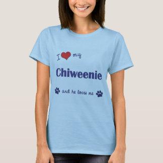 Amo mi Chiweenie (el perro masculino) Playera