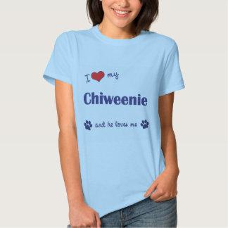 Amo mi Chiweenie (el perro masculino) Remera