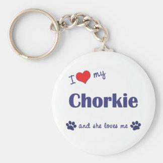 Amo mi Chorkie (el perro femenino) Llavero Redondo Tipo Pin