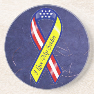 Amo mi cinta amarilla militar del soldado posavasos diseño