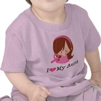 Amo mi cinta del cáncer de la tía pecho camiseta