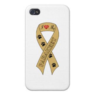 Amo mi cinta del Parakeet iPhone 4 Funda