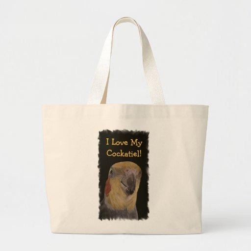¡Amo mi Cockatiel! Pájaro Bolsa Tela Grande