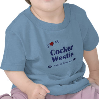Amo mi cocker Westie (el perro masculino) Camiseta