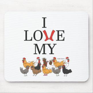 Amo mi cojín de ratón de los pollos alfombrillas de ratón
