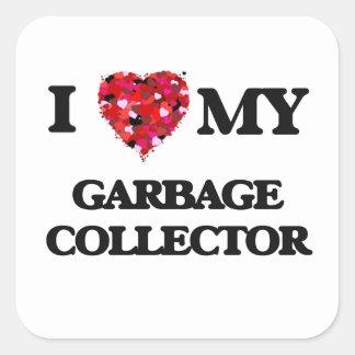 Amo mi colector de basura pegatina cuadrada