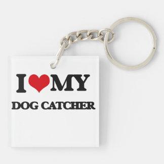 Amo mi colector de perro llavero cuadrado acrílico a doble cara