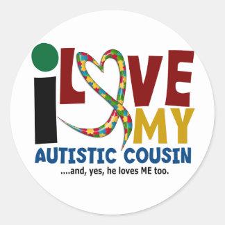Amo mi CONCIENCIA autística del AUTISMO del primo Pegatina Redonda