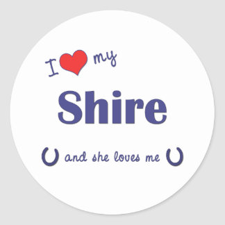 Amo mi condado (el caballo femenino) pegatina redonda