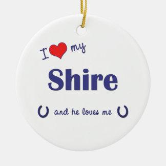 Amo mi condado (el caballo masculino) adorno navideño redondo de cerámica