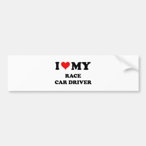 Amo mi conductor de coche de carreras etiqueta de parachoque