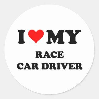 Amo mi conductor de coche de carreras pegatina redonda