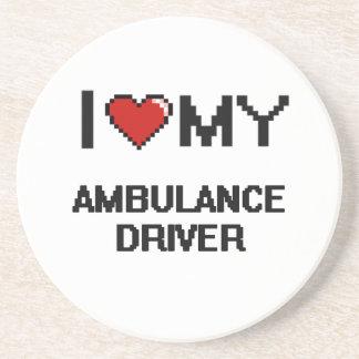 Amo mi conductor de la ambulancia posavasos para bebidas