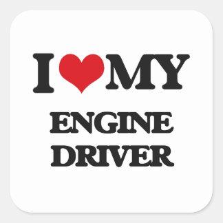Amo mi conductor de motor pegatinas cuadradases personalizadas