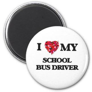 Amo mi conductor del autobús escolar imán redondo 5 cm
