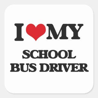 Amo mi conductor del autobús escolar colcomanias cuadradases