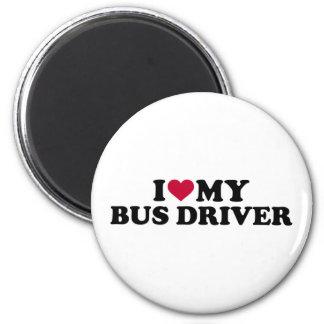 Amo mi conductor del autobús imán redondo 5 cm