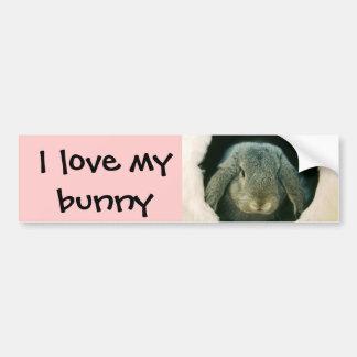 Amo mi conejito pegatina de parachoque