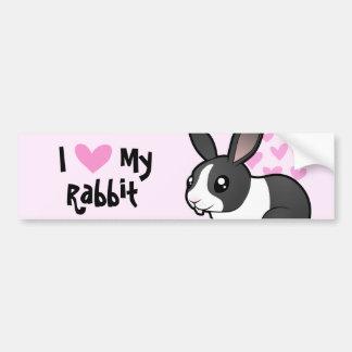 Amo mi conejo (el pelo liso del oído uppy) etiqueta de parachoque