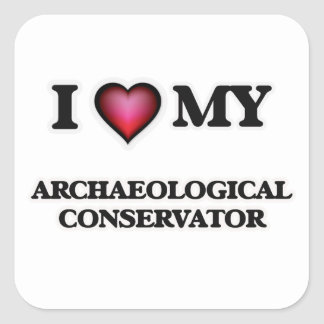 Amo mi conservador arqueológico pegatina cuadrada