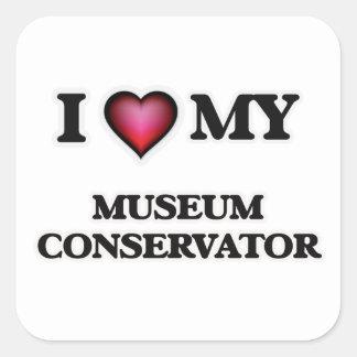 Amo mi conservador del museo pegatina cuadrada