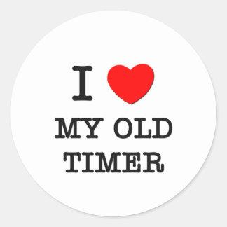Amo mi contador de tiempo viejo pegatinas