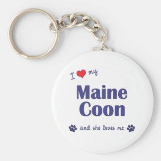 Amo mi Coon de Maine (el gato femenino) Llavero Redondo Tipo Pin