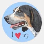 Amo mi Coonhound de Bluetick Etiquetas Redondas