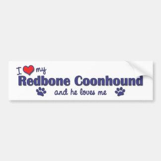 Amo mi Coonhound de Redbone (el perro masculino) Pegatina Para Auto