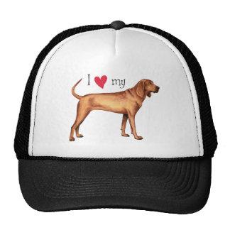 Amo mi Coonhound de Redbone Gorro De Camionero