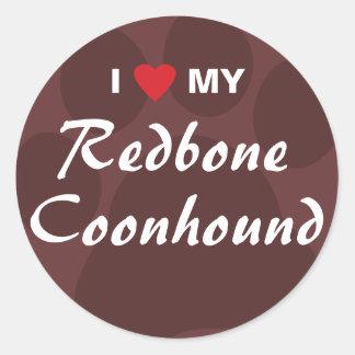 Amo mi Coonhound de Redbone Pegatina Redonda