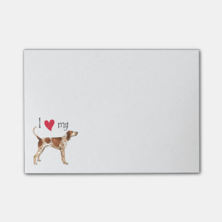 Amo mi Coonhound del inglés americano Post-it® Notas