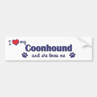 Amo mi Coonhound (el perro femenino) Pegatina Para Auto