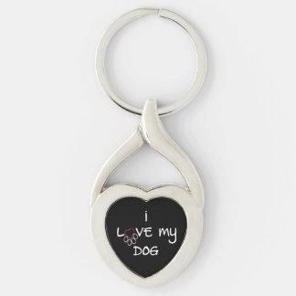 Amo mi corazón del perro o llavero oval llavero plateado en forma de corazón