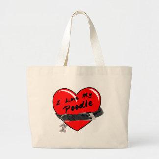 Amo mi corazón rojo del caniche con el cuello de p bolsa lienzo