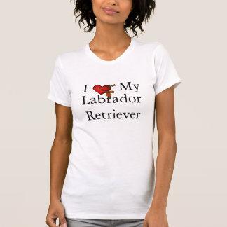 Amo mi corazón y cinta del labrador retriever camiseta